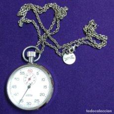 Relojes de bolsillo: ANTIGUO CRONOMETRO SUIZO MENTOR. EN FUNCIONAMIENTO. CARGA MANUAL- CUERDA. CON CADENA. AÑOS 60. Lote 115303879