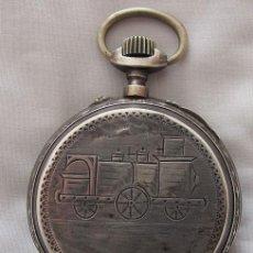 Relojes de bolsillo: RELOJ DE BOLSILLO ANTIGUO MUY GRANDE FERROVIARIO DE PLATA. Lote 115408987