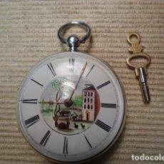 Relojes de bolsillo: RELOJ BOLSILLO LEPINE PLATA PP S XIX,1810, ESMALTES CATALINO, FUNCIONANDO. Lote 115746619