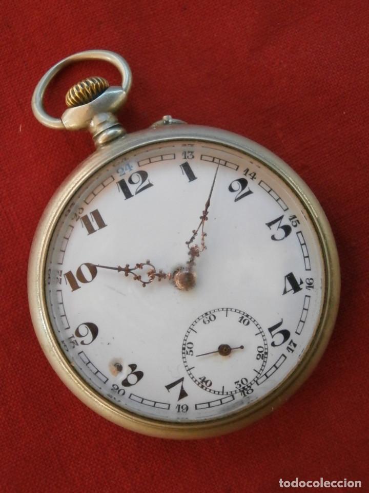 ANTIGUO RELOJ SUIZO ALEMÁN DE BOLSILLO MECÁNICO DE CUERDA MANUAL AÑO 1880 1900 Y FUNCIONA BIEN (Relojes - Bolsillo Carga Manual)