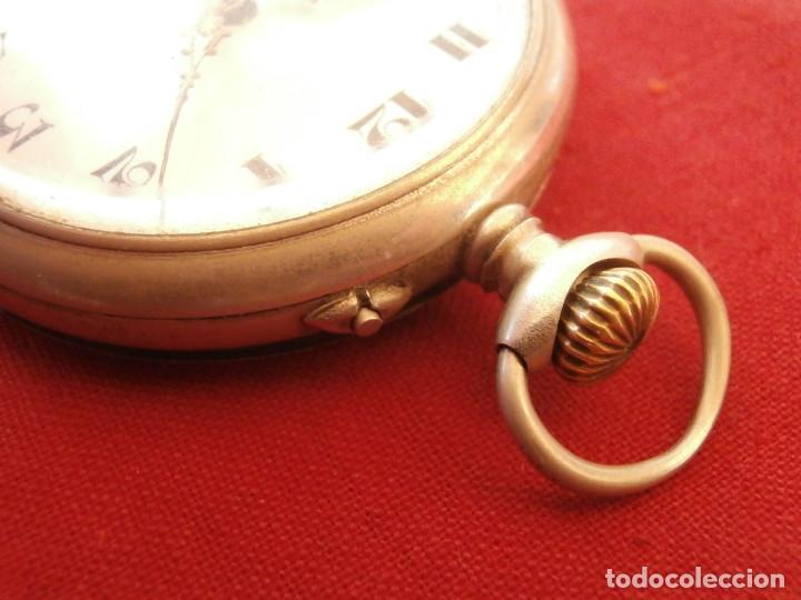 Relojes de bolsillo: Antiguo reloj suizo alemán de bolsillo mecánico de cuerda manual año 1880 1900 y funciona bien - Foto 3 - 115951355