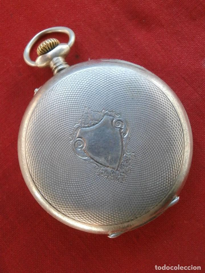 Relojes de bolsillo: Antiguo reloj suizo alemán de bolsillo mecánico de cuerda manual año 1880 1900 y funciona bien - Foto 4 - 115951355