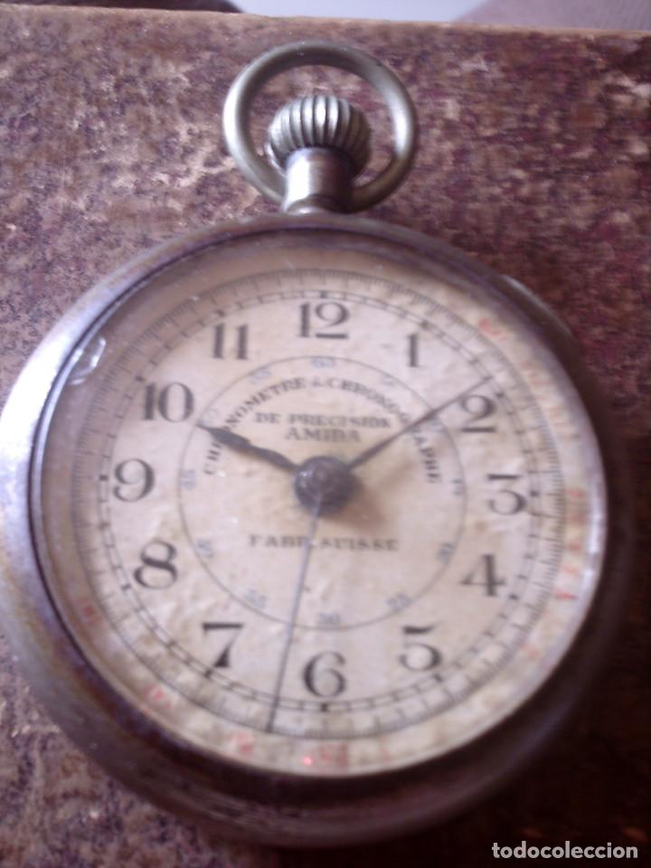 RELOJ CRONOMETRO DE PRECISION AÑOS 20, MARCA AMIDA SUIZA, TIPO ROSKOPF (Relojes - Bolsillo Carga Manual)