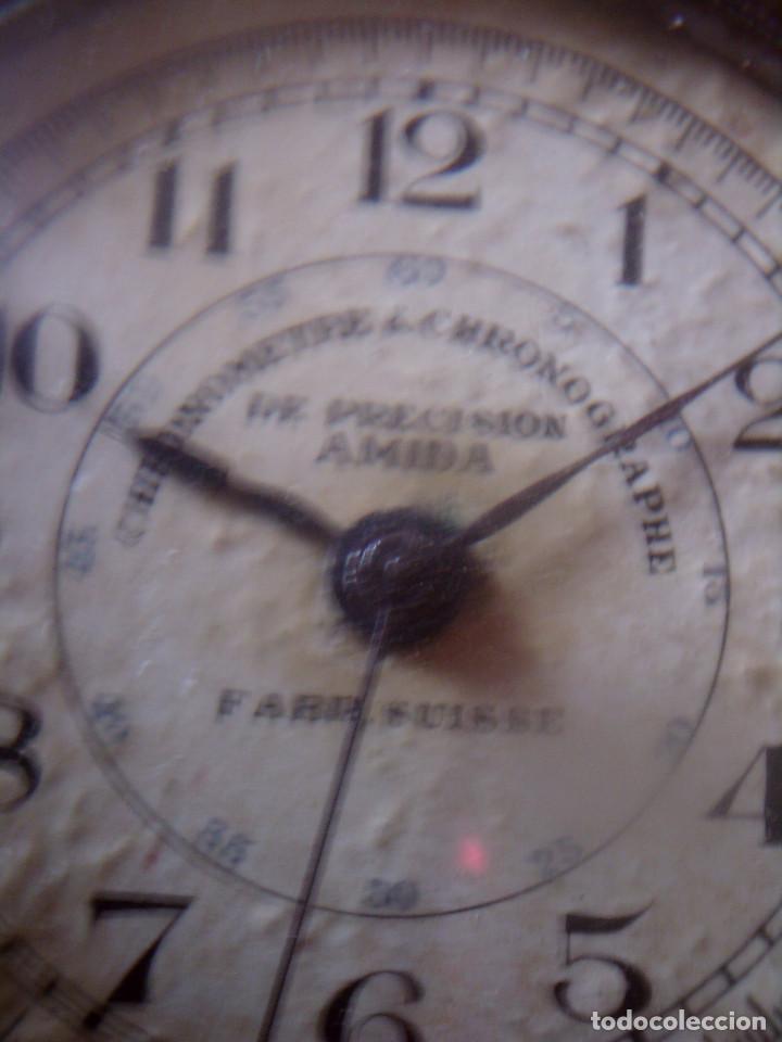 Relojes de bolsillo: RELOJ CRONOMETRO DE PRECISION AÑOS 20, MARCA AMIDA SUIZA, TIPO ROSKOPF - Foto 5 - 116181679