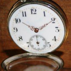 Relojes de bolsillo: RELOJ DE MONJA 40 MM SIN CORONA MARCADO CON EL Nº 657164 DE PLATA CON SUS CONTRASTES FUNCIONA VIDEO. Lote 116248347