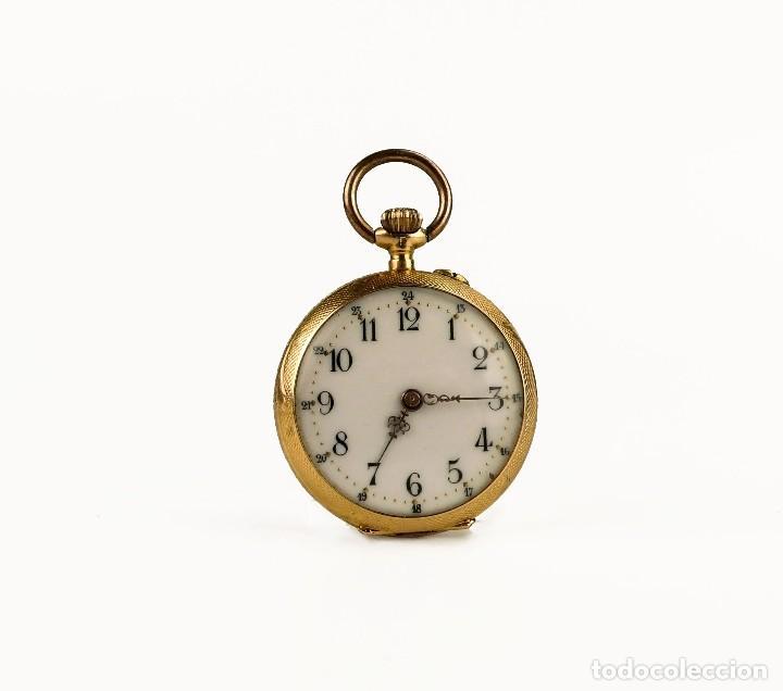 15e2a7571065 Fob Watch- Reloj de bolsillo para mujer caja oro 18k - Funcionado - Francia