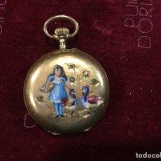 Relojes de bolsillo: RELOJ DE BOLSILLO ORO Y ESMALTES. Lote 116973891