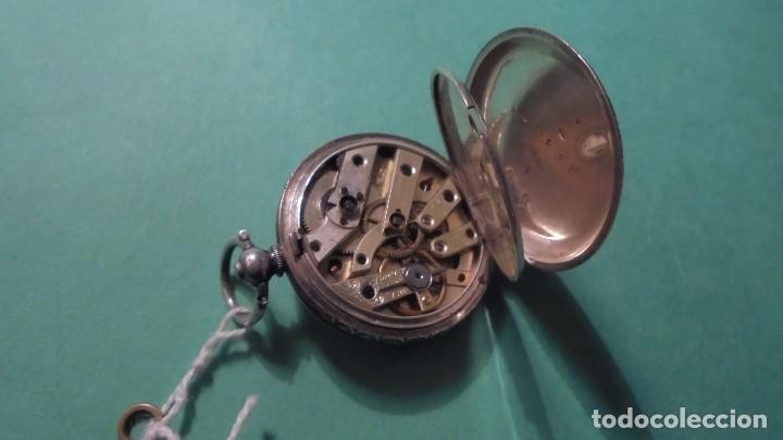 Relojes de bolsillo: ANTIGUO RELOJ DE PLATA , CAJA CINCELADA DE LLAVE , FUNCIONANDO ESFERA DE ESMALTE PERFECTA - Foto 4 - 117045399
