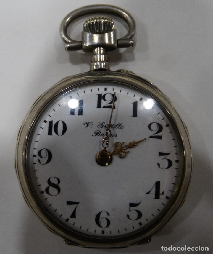 RELOJ DE BOLSILLO. V.GREDILLA. BURGOS. PLATA. EXAGONAL. 2 TAPAS (Relojes - Bolsillo Carga Manual)