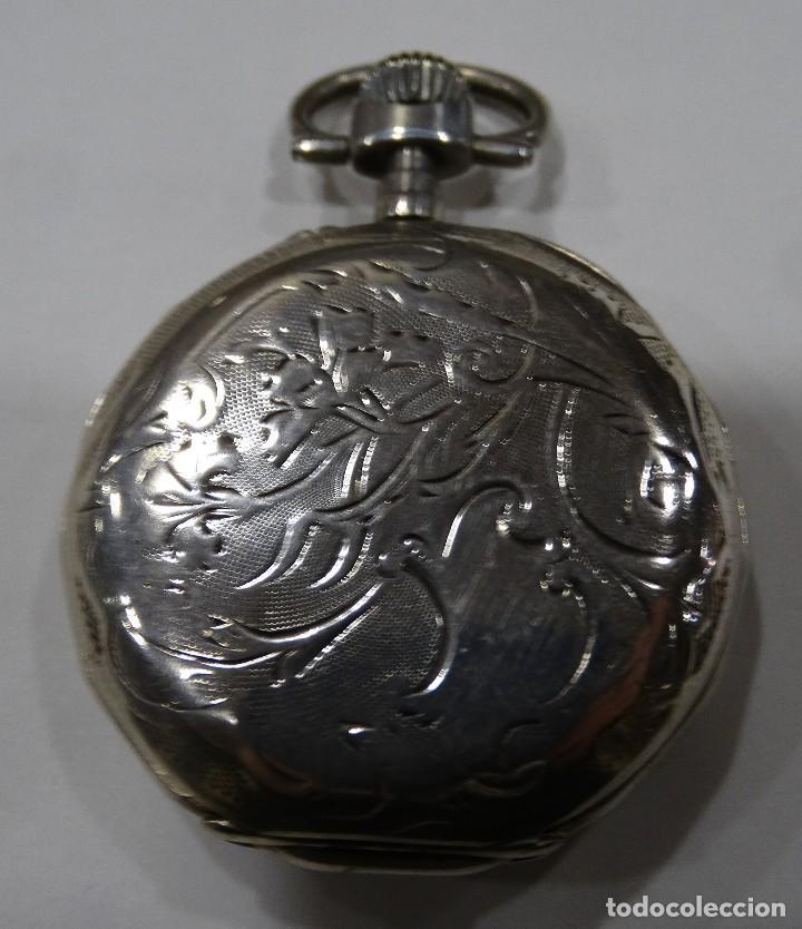 Relojes de bolsillo: RELOJ DE BOLSILLO. V.GREDILLA. BURGOS. PLATA. EXAGONAL. 2 TAPAS - Foto 2 - 117350883