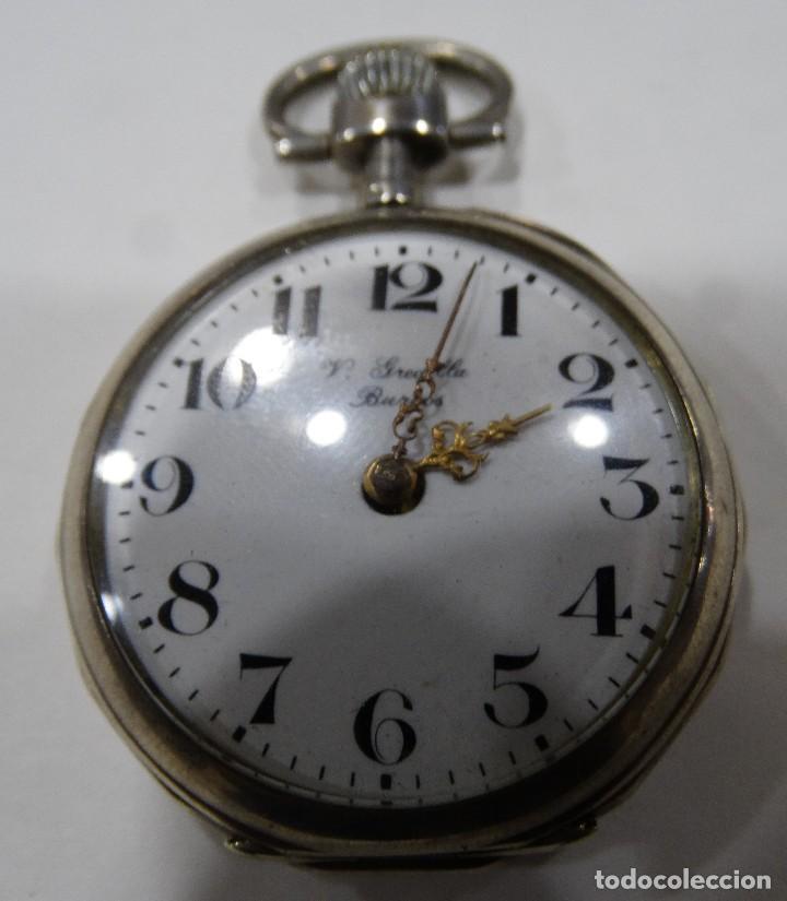 Relojes de bolsillo: RELOJ DE BOLSILLO. V.GREDILLA. BURGOS. PLATA. EXAGONAL. 2 TAPAS - Foto 5 - 117350883