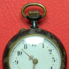 Relojes de bolsillo: RELOJ TIPO LEPINE - SEÑORA - PESO: 22 GRAMOS - DIAMETRO 30 MM - METAL NIELADO. Lote 118558383