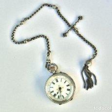 Relojes de bolsillo: ANTIGUO RELOJ DE BOLSILLO DE PLATA ESTERLINA 3 OSO 935 CON LEONTINA - SEÑORA MUJER. Lote 118662499