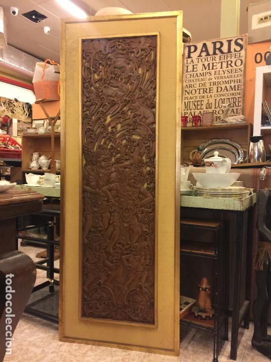 Relojes de bolsillo: Antigua Talla de madera con deidades de gran tamaño, mas de metro y medio. Ver fotos. Pieza unica - Foto 6 - 119603643