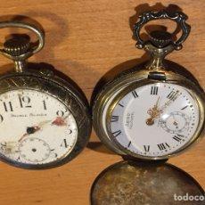 Relojes de bolsillo: LOTE DE 2 RELOJES DE BOLSILLO UNO ES DE PLATA HUGUENIN. Lote 120608988