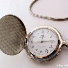Relojes de bolsillo: PRECIOSO RELOJ MORRIS BOLSILLO ANTIMACNETIC GRABADO CON LEONTINA FUNCIONA. Lote 121069675