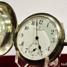 Relojes de bolsillo: OMEGA PLATA 3 TAPAS FIRMA ARMENGOL - VALENCIA.. Lote 121158275
