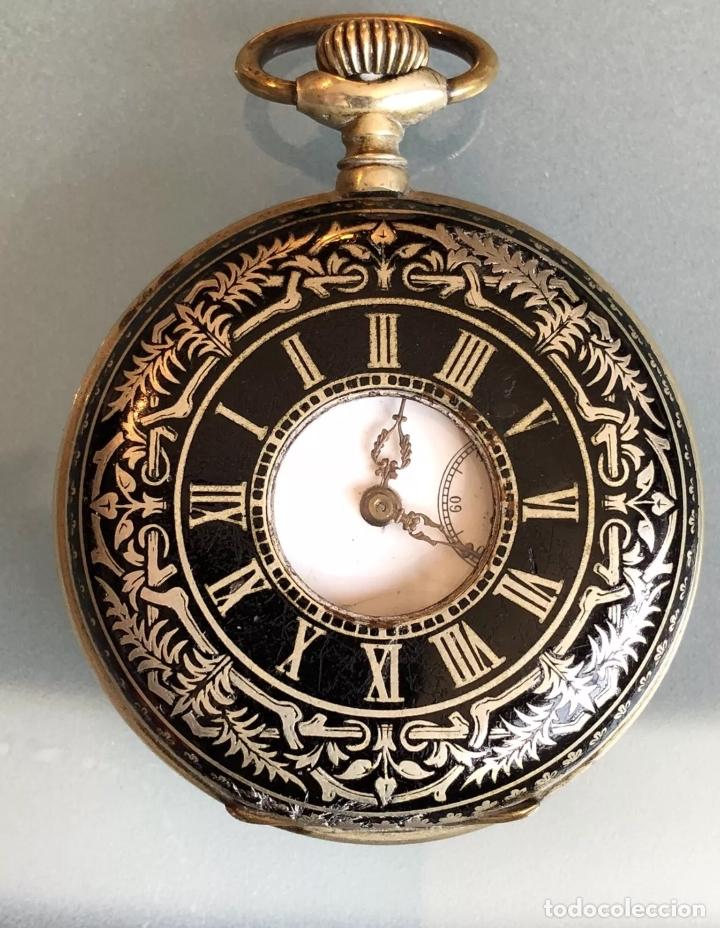 RELOJ DE BOLSILLO 1889 SEMISABONETA, CAZADOR O HUNTER. FUNCIONA (Relojes - Bolsillo Carga Manual)