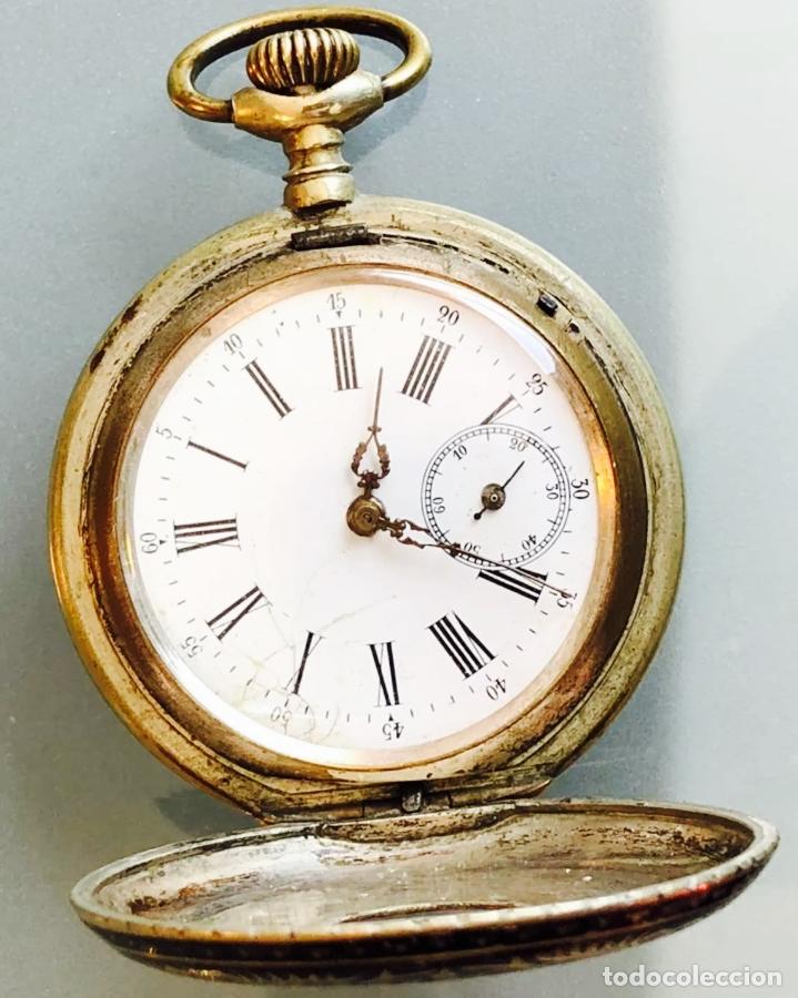 Relojes de bolsillo: Reloj de bolsillo 1889 semisaboneta, cazador o hunter. Funciona - Foto 3 - 121929171