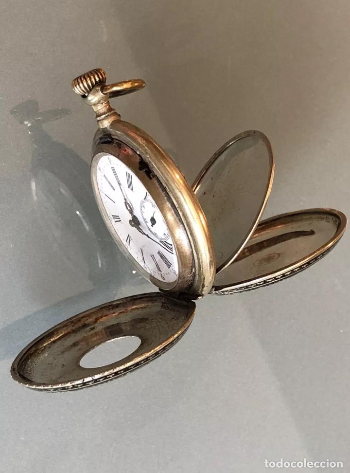 Relojes de bolsillo: Reloj de bolsillo 1889 semisaboneta, cazador o hunter. Funciona - Foto 4 - 121929171