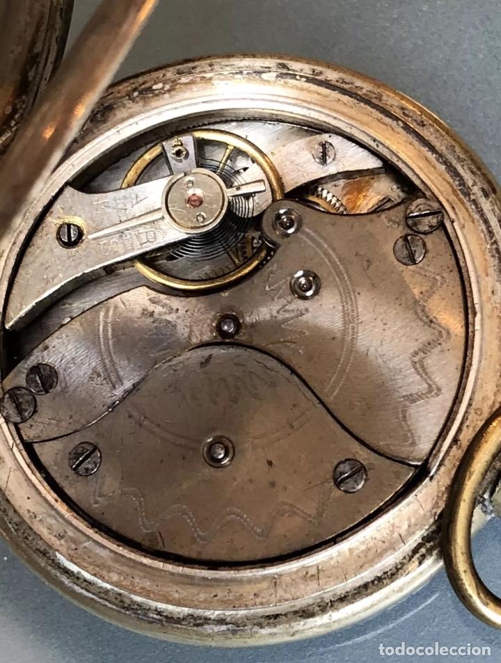 Relojes de bolsillo: Reloj de bolsillo 1889 semisaboneta, cazador o hunter. Funciona - Foto 6 - 121929171