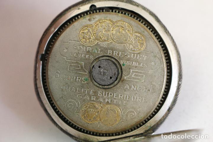 Relojes de bolsillo: reloj de bolsillo en plata de ley 8 jours espiral breguet - Foto 8 - 123534559