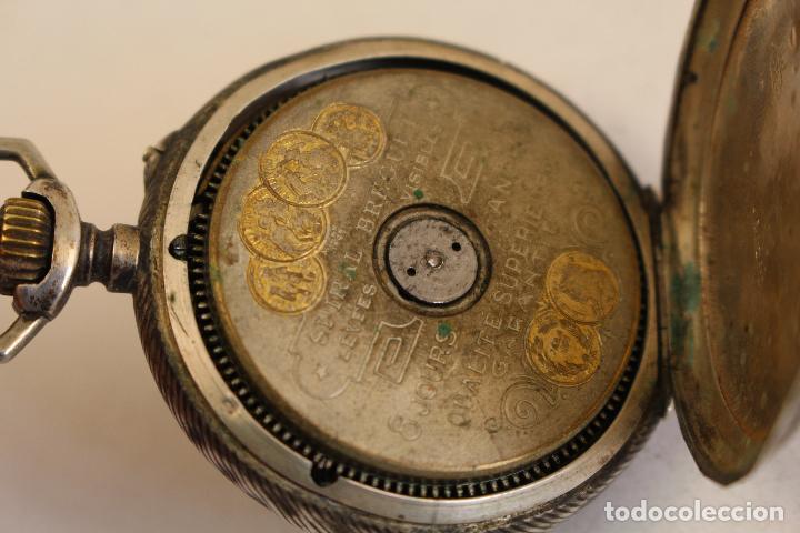 Relojes de bolsillo: reloj de bolsillo en plata de ley 8 jours espiral breguet - Foto 9 - 123534559