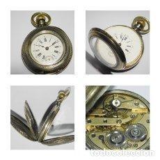 Relojes de bolsillo: RELOJ BOLSILLO PLATA 0,800-CIRCA 1900 -ALEMAN-FUNCIONANDO. CILINDRE 10 RUBÍS REMONTOIRE. Lote 124562015