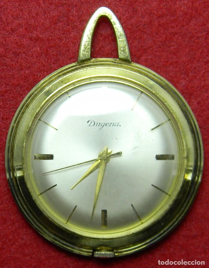 RELOJ DUGENA DE SEÑORA - TIPO ENFERMERA - FUNCIONANDO -REQUIERE AJUSTES - AÑOS 70 - 26 GR. - 40 MM (Relojes - Bolsillo Carga Manual)