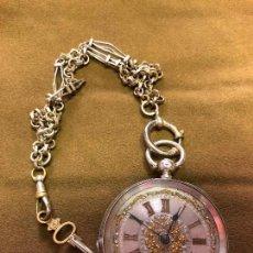 Relojes de bolsillo: FANTASTICO RELOJ CON DOS TAPAS DE BOLSILLO DE PLATA Y PLATA DORADA. Lote 180082753