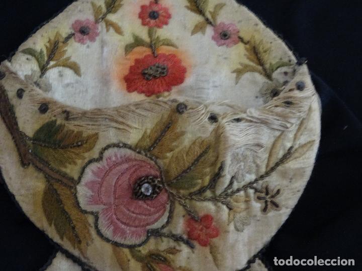 Relojes de bolsillo: Relojera siglo XIX, seda bordados, iniciales,reloj bolsillo guardar - Foto 5 - 163819534
