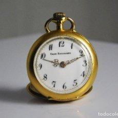 Relojes de bolsillo: UNION HORLOGERE-ORO 18 K Y 3 DIAMANTES TALLA ROSA-RELOJ DE BOLSILLO REMONTORIE SUIZO-FUNCIONANDO. Lote 126692003