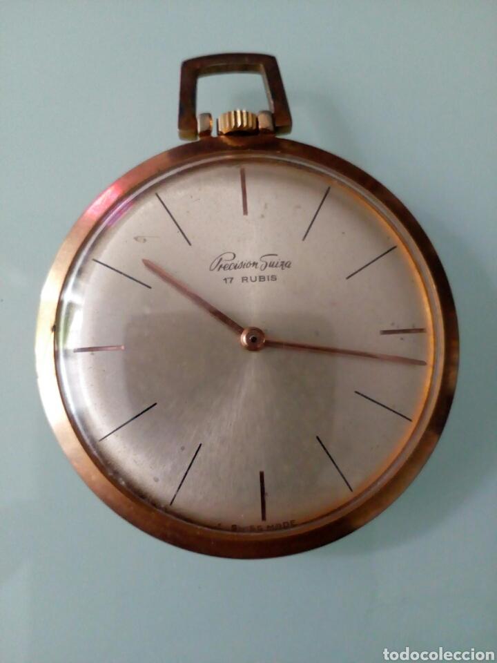 RELOJ DE BOLSILLO PRECISIÓN SUIZA 17 RUBÍS, AÑOS 60, CHAPADO ORO (Relojes - Bolsillo Carga Manual)