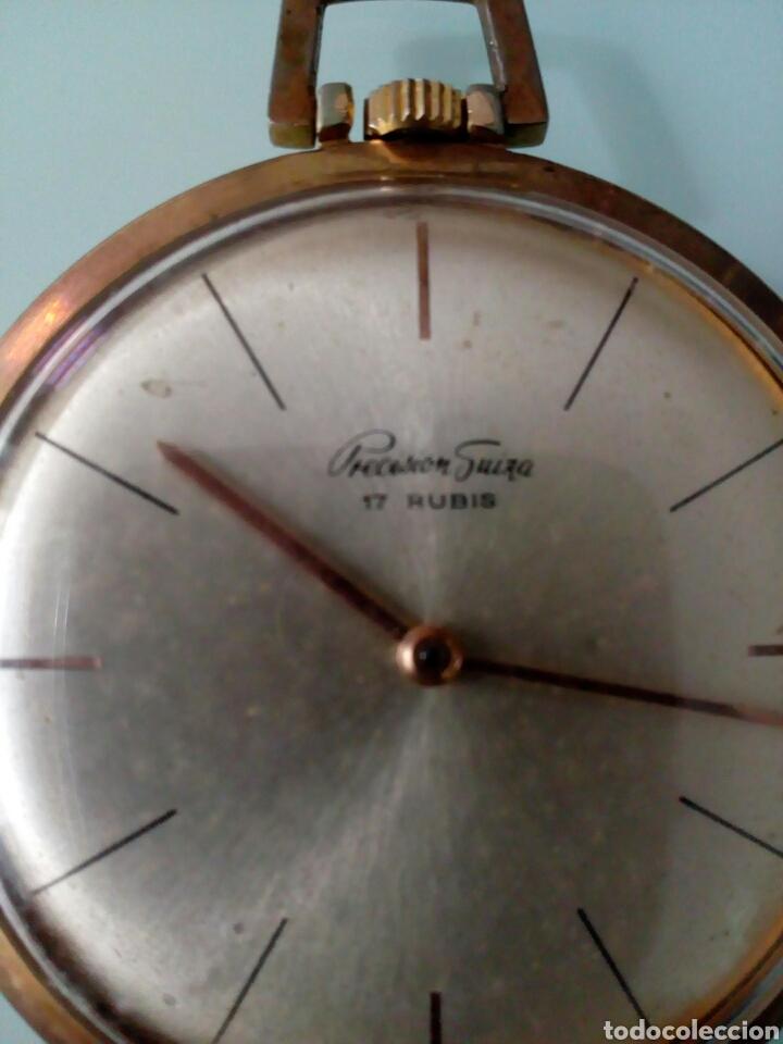Relojes de bolsillo: RELOJ DE BOLSILLO PRECISIÓN SUIZA 17 RUBÍS, AÑOS 60, CHAPADO ORO - Foto 3 - 126888132