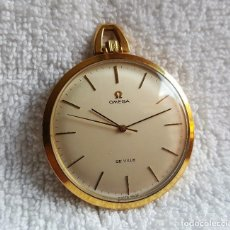 Relojes de bolsillo: RELOJ OMEGA ORO PLAQUE 20 MICRAS BOLSILLO - ESFERA 4.CM DIAMETRO. Lote 127495259