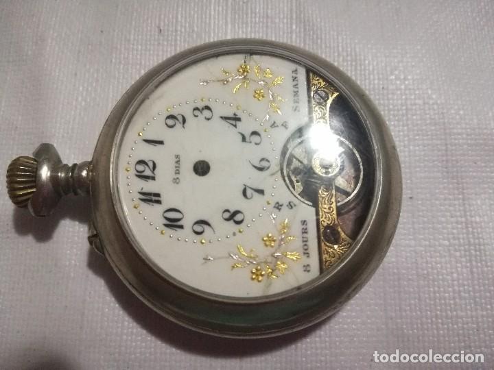 RELOJ HEBDOMAS 8 DÍAS. METAL Y ESMALTE-SUIZA-FALTAS MANECILLAS Y PIEZAS (Relojes - Bolsillo Carga Manual)