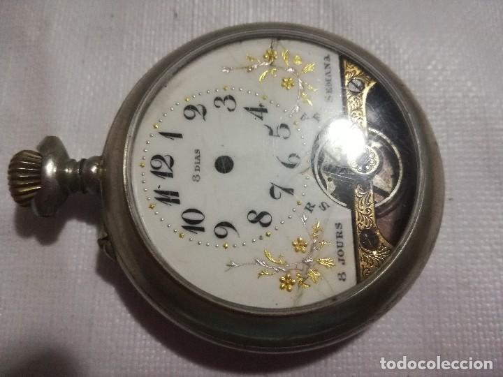 Relojes de bolsillo: RELOJ HEBDOMAS 8 DÍAS. METAL Y ESMALTE-SUIZA-FALTAS MANECILLAS Y PIEZAS - Foto 2 - 127528899