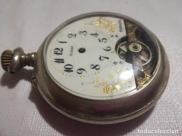 Relojes de bolsillo: RELOJ HEBDOMAS 8 DÍAS. METAL Y ESMALTE-SUIZA-FALTAS MANECILLAS Y PIEZAS - Foto 3 - 127528899