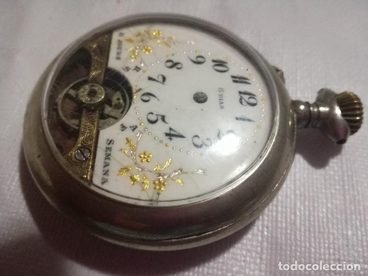 Relojes de bolsillo: RELOJ HEBDOMAS 8 DÍAS. METAL Y ESMALTE-SUIZA-FALTAS MANECILLAS Y PIEZAS - Foto 4 - 127528899