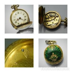 Relojes de bolsillo: RELOJ LEPINE DE ORO 18K Y 8 DIAMANTES TALLA CIFA-MAQUINARIA DE RUEDA CATALINA-MITAD SIGLO XIX. Lote 128388791