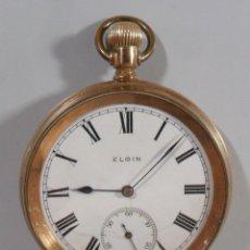 Relojes de bolsillo: RELOJ DE BOLSILLO ELGIN CHAPADO EN ORO - FUNCIONA. Lote 128389167