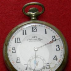 Relojes de bolsillo: ALPACA. ANTIGUO RELOJ CARGA MANUAL CABALLERO. UTI 4 GRANDS PRIX. MARCAJE. 75 GM. Ø 49 MM. Lote 128770955