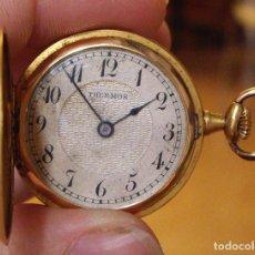 Relojes de bolsillo: BONITO RELOJ DE ORO DE 3 TAPAS DE 18 KLTS. CON DIAMANTES MODERNISTA - AÑOS 20 - BUEN FUNCIONAMIENTO. Lote 129010007