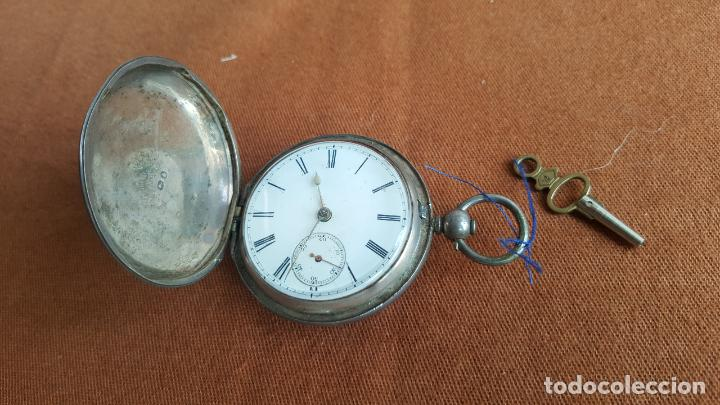 Relojes de bolsillo: Reloj antiguo en plata. Inglaterra siglo XIX. Estado de marcha. Silver pocket watch. - Foto 2 - 129085867