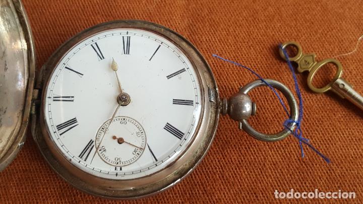 Relojes de bolsillo: Reloj antiguo en plata. Inglaterra siglo XIX. Estado de marcha. Silver pocket watch. - Foto 3 - 129085867