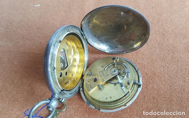 Relojes de bolsillo: Reloj antiguo en plata. Inglaterra siglo XIX. Estado de marcha. Silver pocket watch. - Foto 7 - 129085867