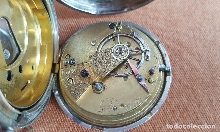 Relojes de bolsillo: Reloj antiguo en plata. Inglaterra siglo XIX. Estado de marcha. Silver pocket watch. - Foto 8 - 129085867