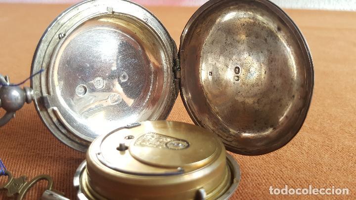 Relojes de bolsillo: Reloj antiguo en plata. Inglaterra siglo XIX. Estado de marcha. Silver pocket watch. - Foto 10 - 129085867