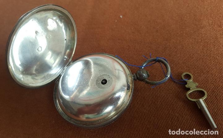 Relojes de bolsillo: Reloj antiguo en plata. Inglaterra siglo XIX. Estado de marcha. Silver pocket watch. - Foto 11 - 129085867