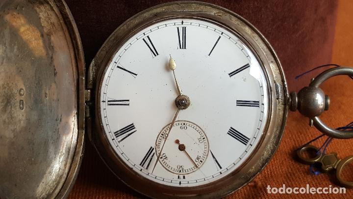 Relojes de bolsillo: Reloj antiguo en plata. Inglaterra siglo XIX. Estado de marcha. Silver pocket watch. - Foto 12 - 129085867